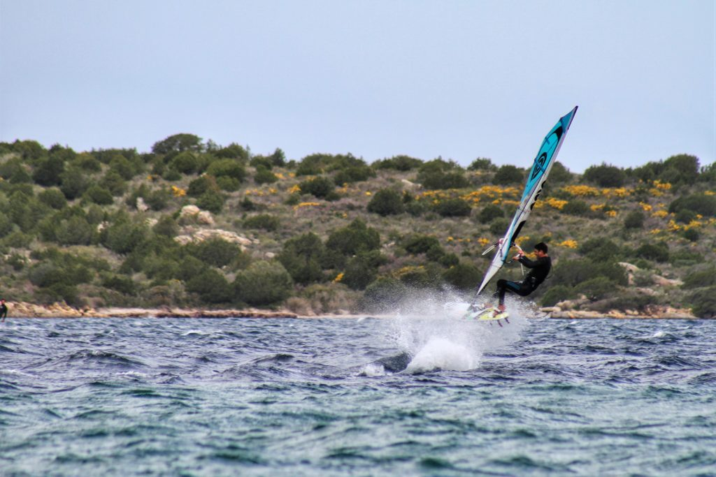 Windsurfing in Porto Liscia near Porto Pollo in Sardinia