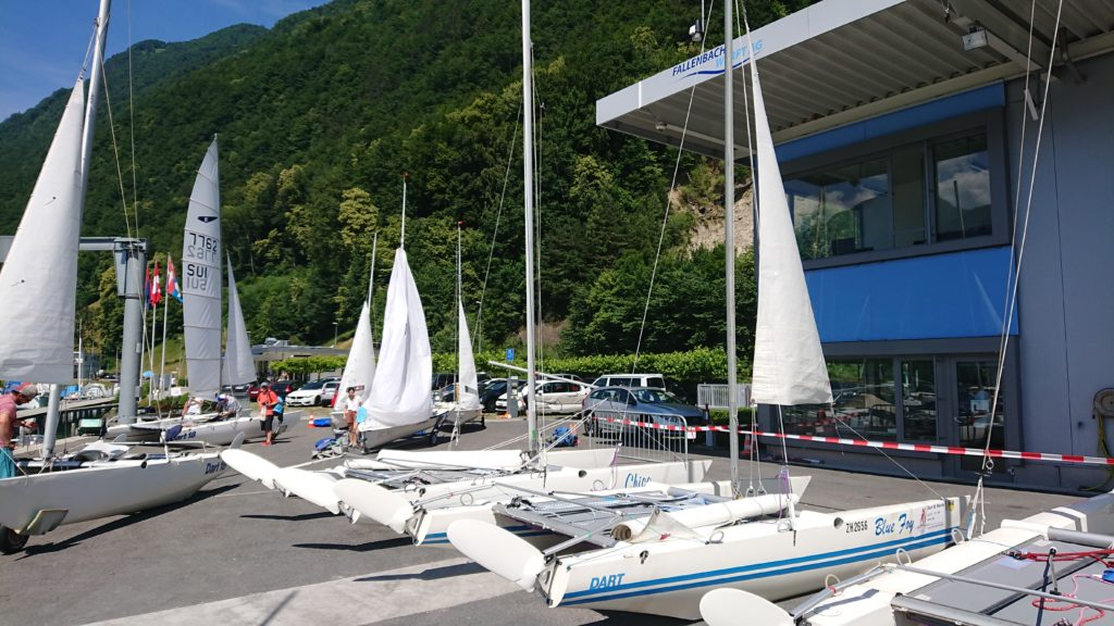 Boats ready to race at a Regatta in Switzerland
