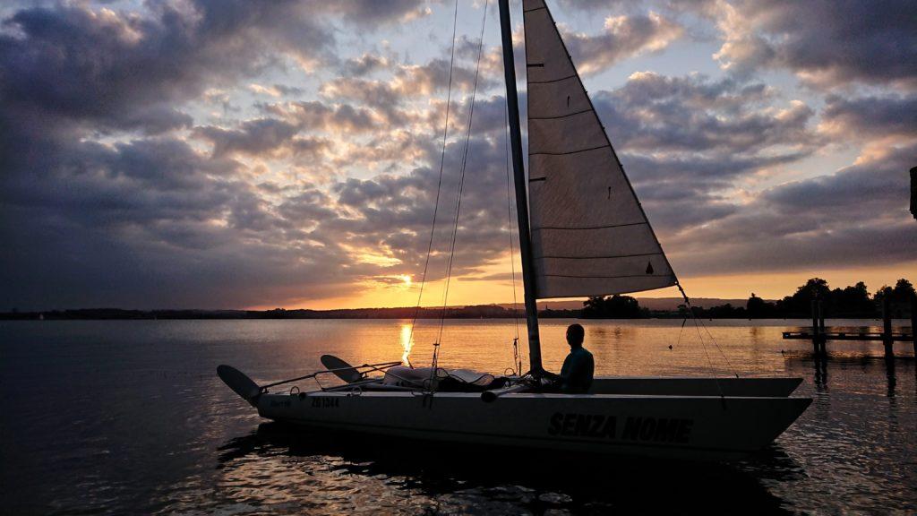 Sunset Sailing Boat Lake Zug
