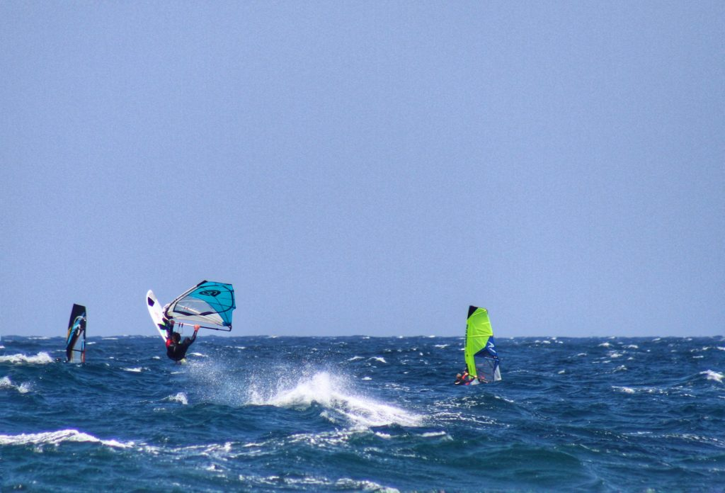 Small waves windsurfing at La Ciaccia Sardinia